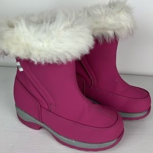 Other - Lands' End Pink Fleece Lined Velcro Snow Boots 12